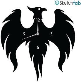 Sketchfab Wall Clock D101 Phoenix Bird Shape Without Glass Decorative Wooden Wall Clock Non Ticking Silent - BLACK