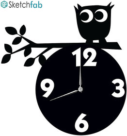 Sketchfab Alu Shape D103 Without Glass Decorative Wooden Wall Clock Non Ticking Silent - BLACK