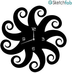 Sketchfab Throat Chakra Shape D104 Without Glass Decorative Wooden Wall Clock Non Ticking Silent - BLACK