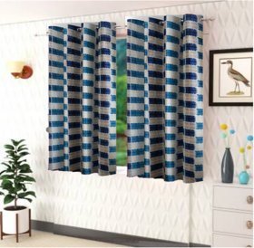 DealsDen Set of 2 Polyster Printed Window Curtains Color Blue