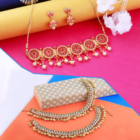Nm Creation Exclusive Choker Set Fancy With Anklet For Women Girl