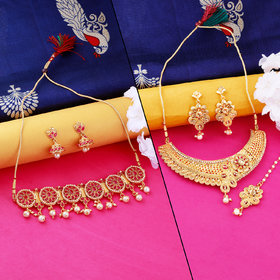 Nm Creation Designer Stylish  Gold Plated  Choker Set  Traditional Necklace  Jewellery Set For Women Girls