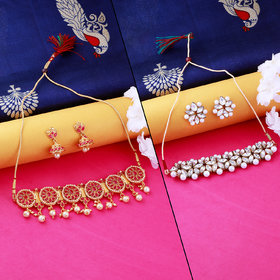 Nm Creation Designer  Look Stylish  Gold Plated  Choker Set  Traditional Necklace  Jewellery Set For Women Girls