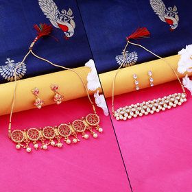 Nm Creation Designer Fancy Look  Gold Plated  Choker Set  Traditional Necklace  Jewellery Set For Women Girls