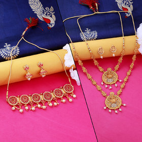 Nm Creation Gold Plated Temple Set With Traditional  Choker Necklace Jewellery Set For Women Men
