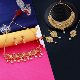 Nm Creation Gold Plated Traditional Designer Choker Set  Necklace Jewellery Set For Women Men