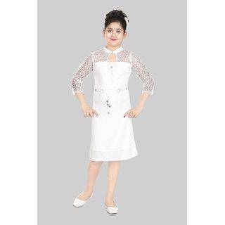 SBN Girls Solid White Party Wear Dress