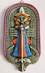 Mukherjee Handicraft's Terracotta Maa Durga Ma Dura Sherawali Maa Wall Hanging Showpiece