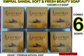Sandal soap 100gm x 6 special combo offer sale empral sandal soft and fresh beauty soap set of 6 sabun