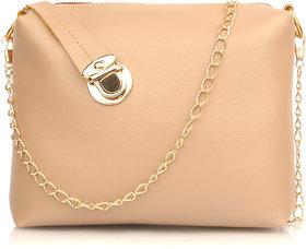 29K Women Golden Lock Solid Plain Sling Bag Cream