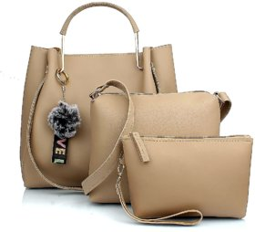 29K Women Handbag with Solid Sling Bag & Pouch (Set of 3) - Cream Combo