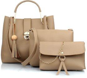 29K Women Cream Handbag With Solid Sling Bag & Wristlet Combo