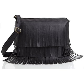 29K Women Frills (Jhallar) Lace Sling Bag Black