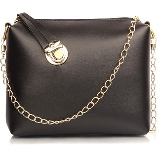 29K Women Golden Lock Sling Bag Black