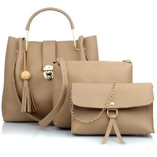 29K Women Handbag with Sling Bag & Wristlet (Set of 3) - Cream Combo