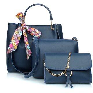 29K Women Ribbon Handbag with Solid Sling Bag & Wristlet (Set of 3) - Blue Combo