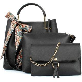 29K Women Ribbon Handbag with Solid Sling Bag & Wristlet (Set of 3) - Black Combo