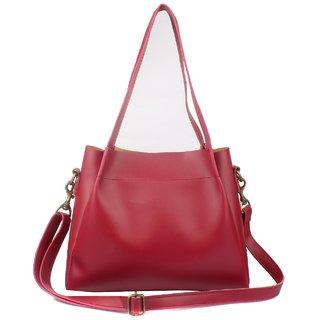 29K Women Bib Solid Handbag Maroon