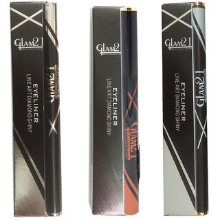 GLAM21 BLACK, SILVER AND BROWN DIAMOND SHINY WATERPROOF EYELINER (2.5 ML) (PACK OF 3)