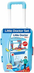 Little Doctor Playset with Case Workbench  2 in 1 Doctor Nurse Medical Box with Suitcase Trolley  Doctor Pretend Play
