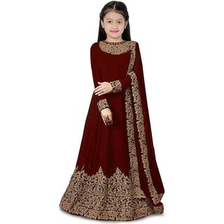 F Plus Fashion Maroon Satin Satin Solid Design Girls Traditional Semi Stitched Gown(Suitable To 3-15 Years Girls)