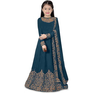 F Plus Fashion Rama Satin Embroidered Kids Girls Party Wear Semi Stitched Gown(Suitable To 3-15 Years Girls)