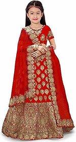 F Plus Fashion Red Taffeta Latest Embroidered Design Girls Wedding Wear Semi Stitched Lehenga Choli(Free Size)