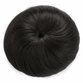 Shaear Hairs Human Hair Bun Extension Donut Chignon Hairpiece Wig (Darkest Brown)