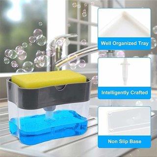 2 in 1 Soap Dispenser Holder Pump for Dishwasher Liquid, Soap, Sponge Holder