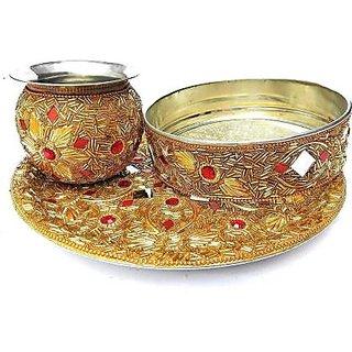 INFINITE GREEN Golden Karva Chauth Thali - 1 Set Karwa Chauth Thali ( kalash / Lota, Chalni, Thali )