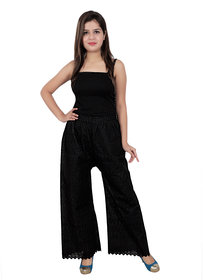 Regular Fit Women Black Pure Cotton Trousers