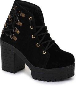 Funku Fashion Side Lace Black Suede Women Boots
