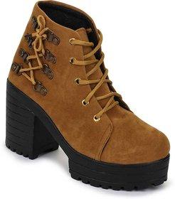 Funku Fashion Side Lace Tan Suede Women Boots