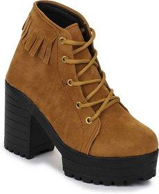 Funku Fashion Frill Tan Suede Women Boots