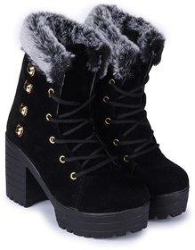 Funku Fashion High Ankle Black Suede Women Boots