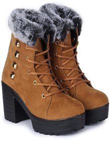 Funku Fashion High Ankle Tan Suede Women Boots
