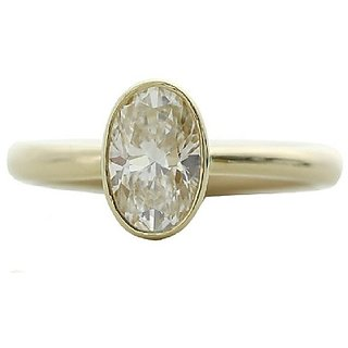 5.25 Carat natural White Sapphire Gold Plated Ring by Ratan Bazaar
