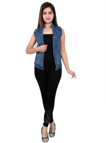 ARIXTY Sleeveless Self Design Women Denim Jacket