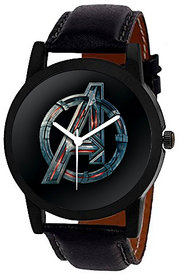 Wake Wood Black Round Dial Synthetic Strap Graphic Analog Casual Watch For Men