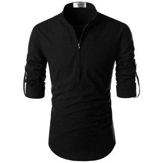 Black Linen Cotton Super Short Kurta