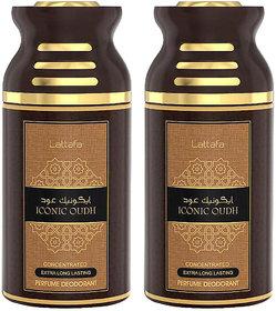 Lattafa Iconic Oudh Perfumed Body Spray, 250ml Pack 0f 2
