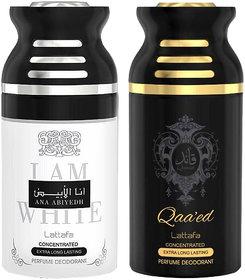 Lattafa Ana Abiyedh + QAEED 250ml Deodorant Perfumed Bodyspray for Men and Women Combo Pack of 2