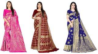 Rangkruti Women's Multicolor Jari Jacquard Banarasi in Cotton Polyester Blend Saree with Blouse Piece (Set of 3)