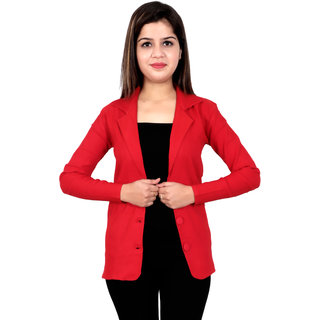 Solid Single Breasted Formal Women Full Sleeve Blazer  (Red)