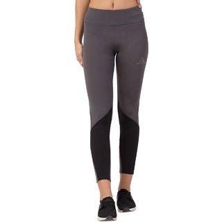 Threadstone Women's Grey Plain Spandex Active Wear/Leggings