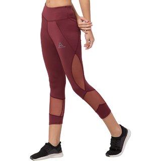 Threadstone Women's Maroon Plain Spandex Active Wear/Leggings