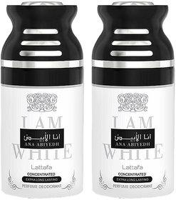 Lattafa Ana Abiyedh I am White Perfumed Body Spray, 250ml Pack 0f 2