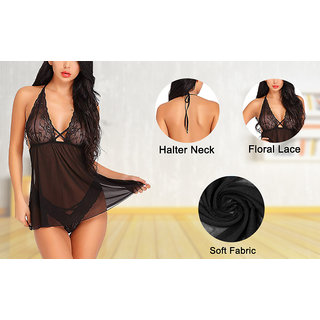 Quinize Naughty Night Dress Black Exotic for Women (Halter Neck Sensous Dress)