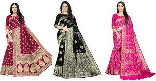 Rangkruti Set of 3 Cotton Polyester Blend with Jari Jacquard Weaving Banarasi Women's Saree with Blouse Piece
