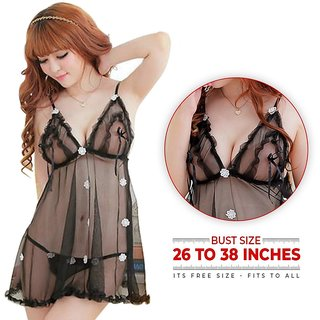 Babydoll Hot Naughty Night Dress Exotic for Girls (Sensous Dress in Net)